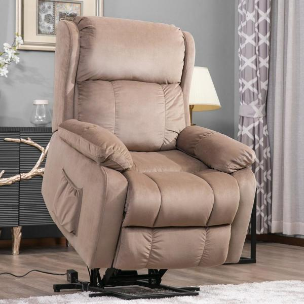 Beige Soft Fabric Upholstery Power Lift Chair with Remote