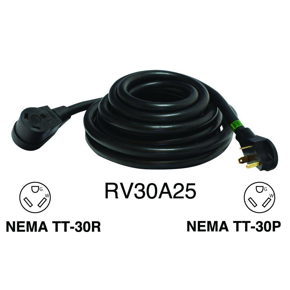 Rodale 25 ft. 30 Amp 10/3 Recreational Vehicle Extension Cord ...