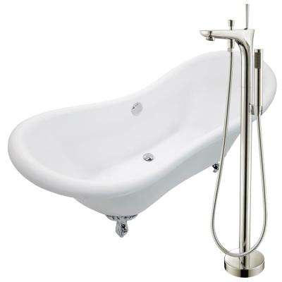 Aegis 68.75 in. Acrylic Clawfoot Non-Whirlpool Bathtub in White with Kase Faucet with Hand Shower