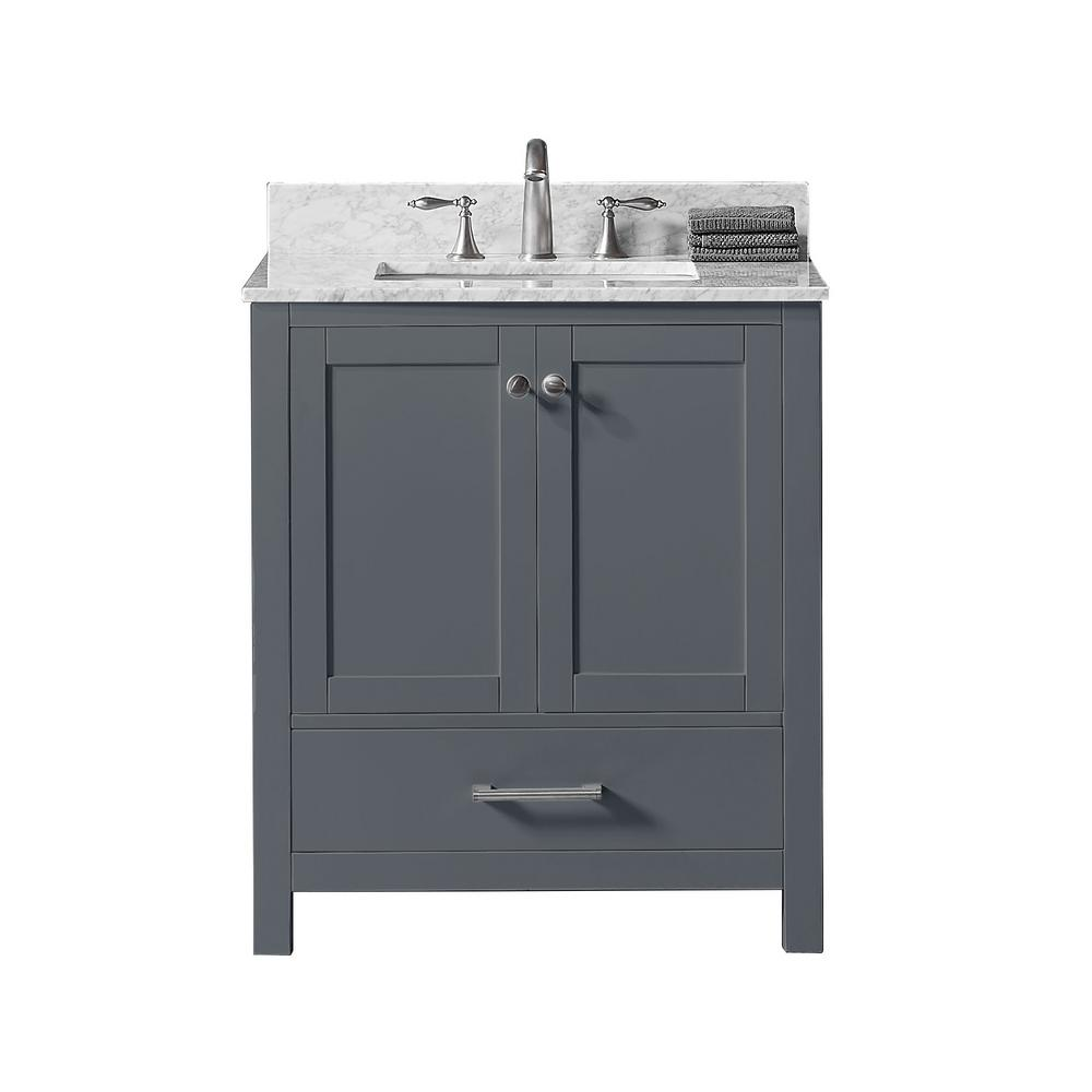 Exclusive Heritage 30 in. W x 22 in. D x 34.2 in. H Bath Vanity in Cashmere Grey w/ Carrara Marble Vanity Top in White w/ White Basin
