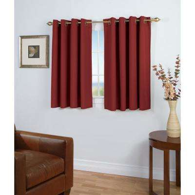 Glasgow 56 in. W x 45 in. L Woven Grommet Top Short Panel in Pomegranate