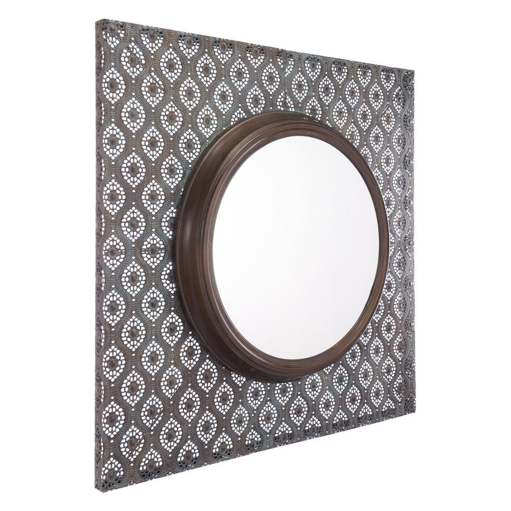 zuo plaque antique metal wall mirror a10847 the home depot. Black Bedroom Furniture Sets. Home Design Ideas