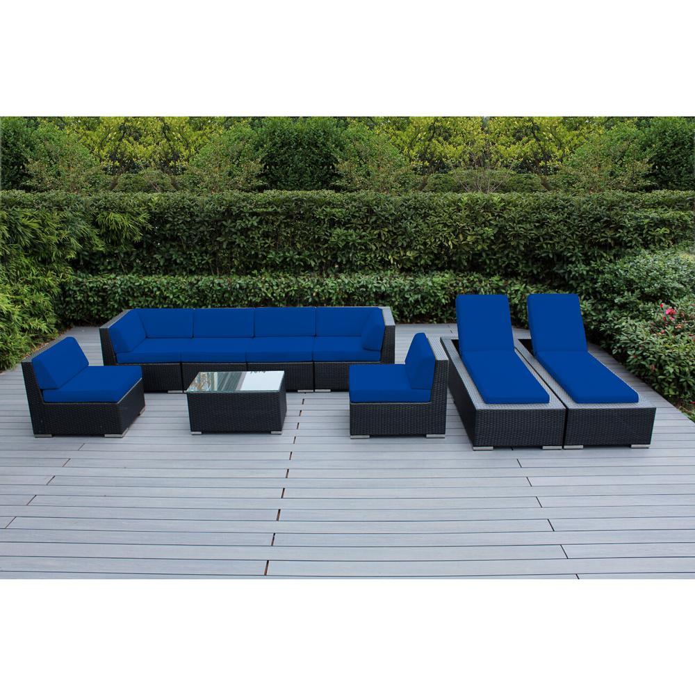 Black 9-Piece Wicker Patio Combo Conversation Set with Sunbrella Pacific Blue Cushions