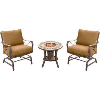 Summer Nights 3-Piece Patio Fire Pit Conversation Set with Steel Rockers with Desert Sunset Cushions