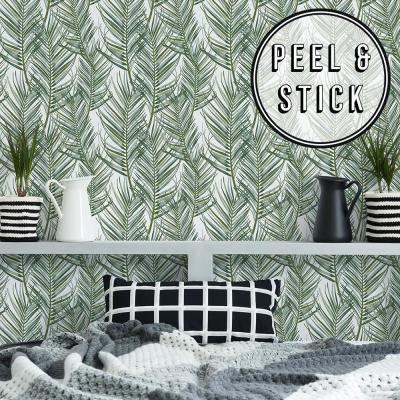 Transform White and Green Palm Peel and Stick Removable Wallpaper