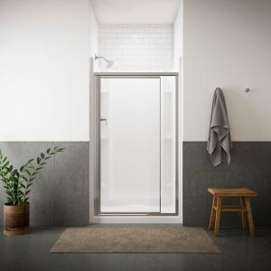 Sterling Vista Pivot II 42 inch x 65-1/2 inch Framed Pivot Shower Door in Silver with Handle by STERLING