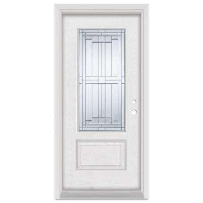 36 in. x 80 in. Architectural Left-Hand Patina Finished Fiberglass Oak Woodgrain Prehung Front Door Brickmould