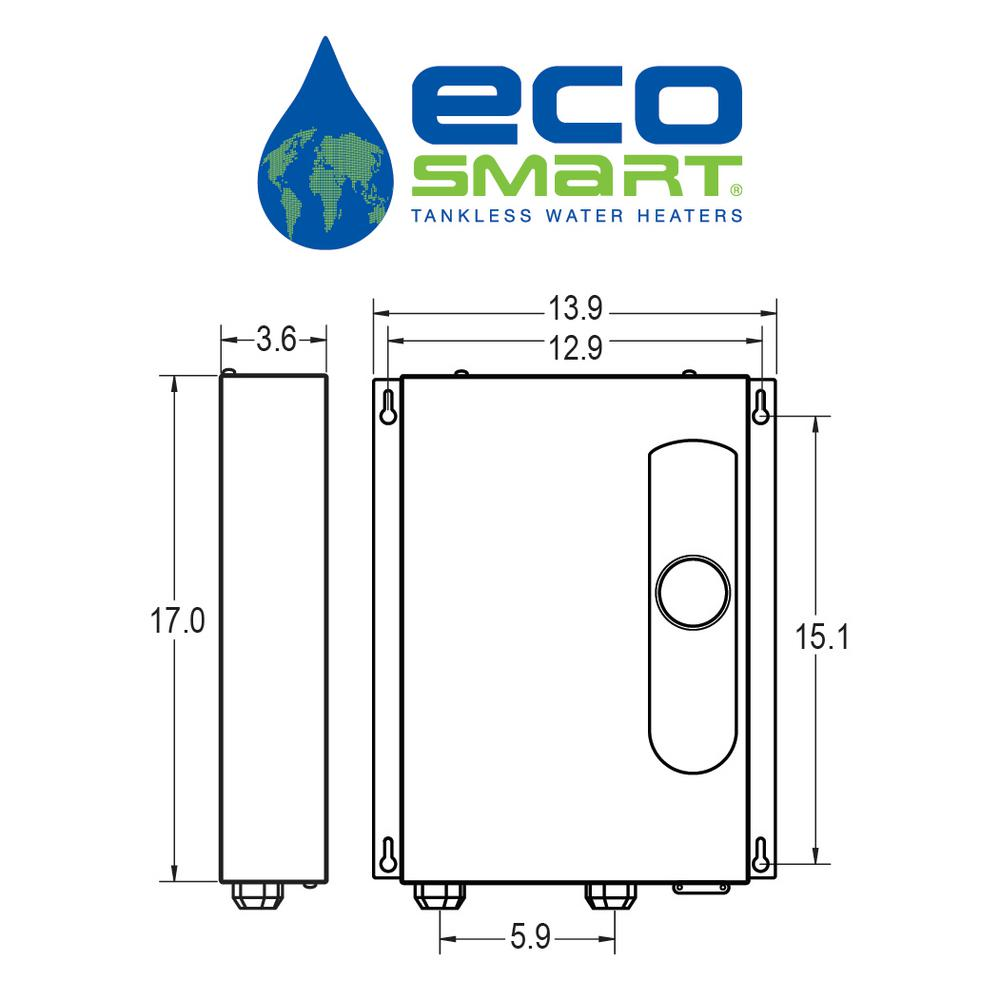 Ecosmart Eco 18 Tankless Electric Water Heater 18 Kw 240 V Eco 18 The Home Depot