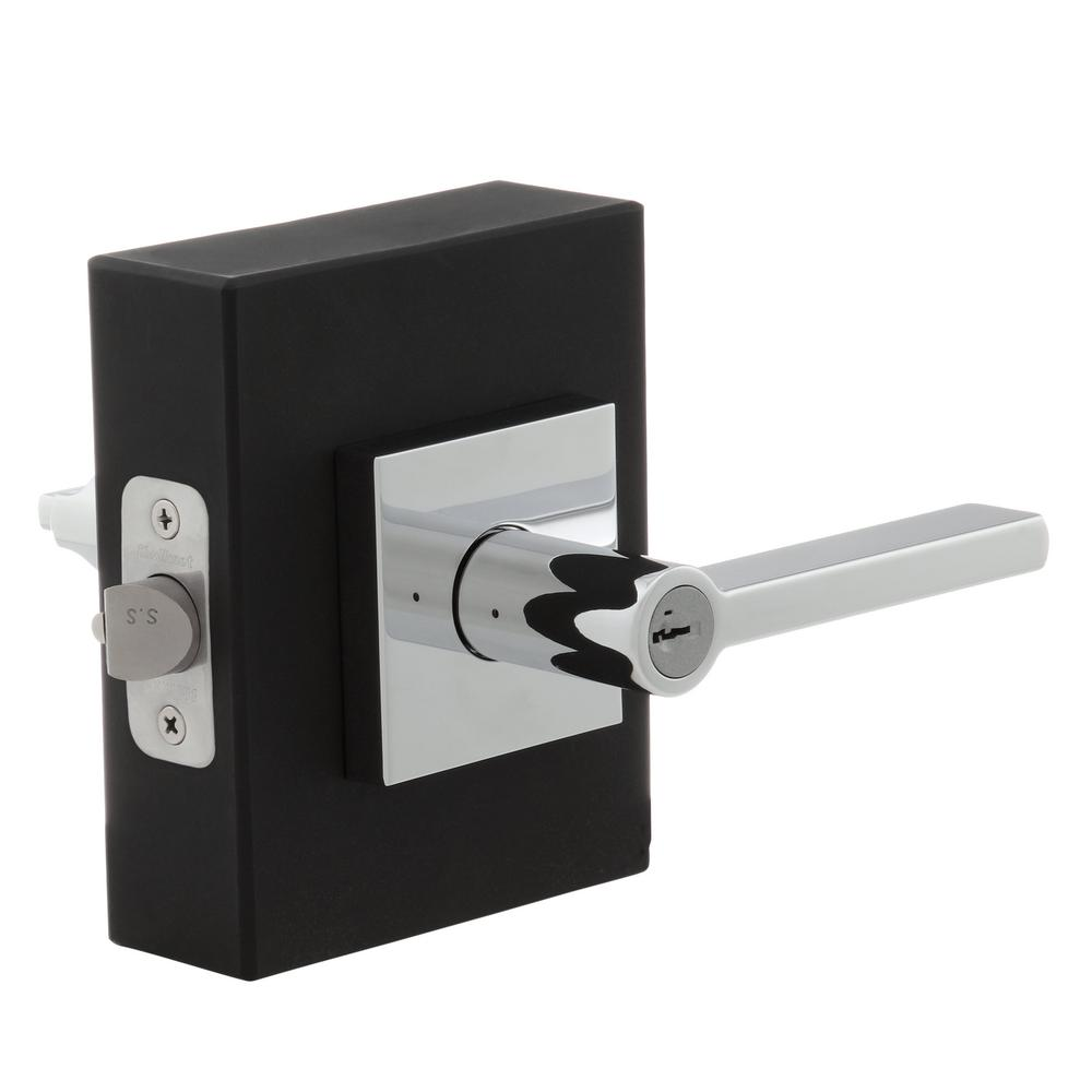 Halifax Square Polished Chrome Entry Door Lever featuring SmartKey
