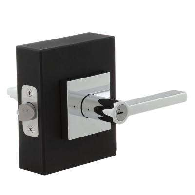 Halifax Square Polished Chrome Entry Door Lever Featuring SmartKey Security