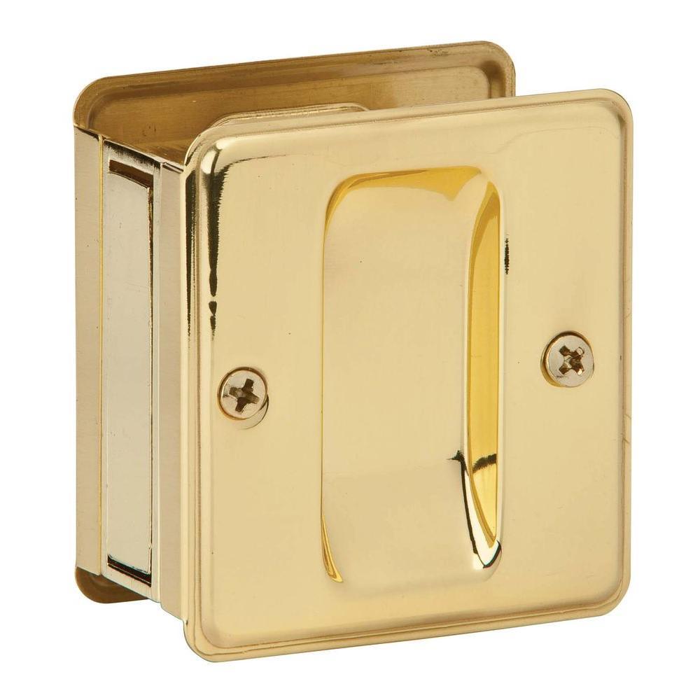 Schlage Bright Brass Passage Sliding Door Handle