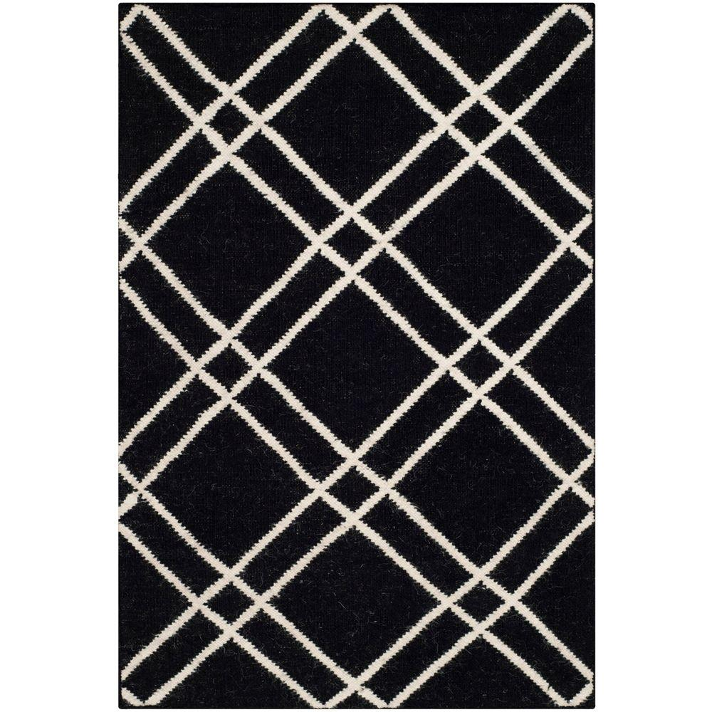 Dhurries Black/Ivory 2 ft. 6 in. x 4 ft. Area Rug