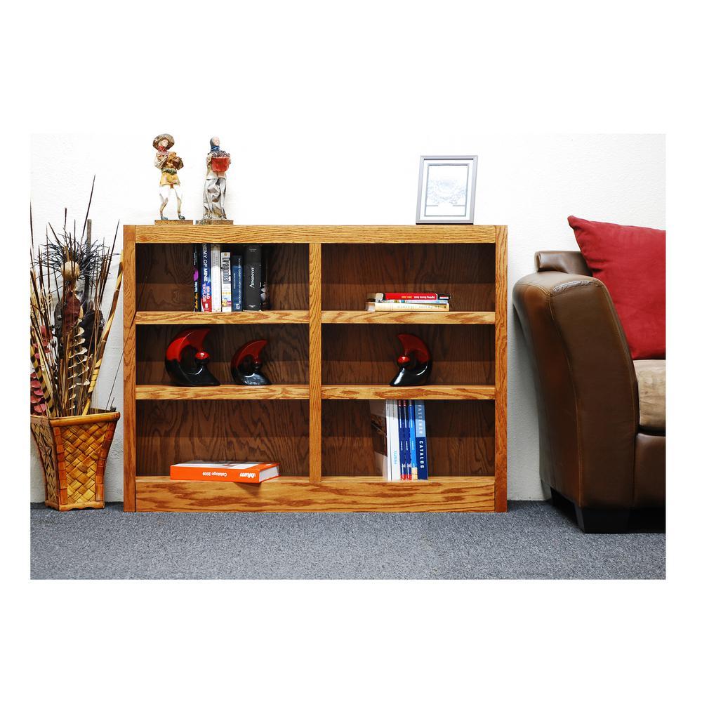 midas double wide 6shelf bookcase in dry oak