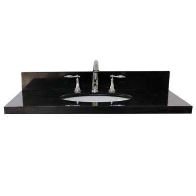 Ragusa 37 in. W x 22 in. D Granite Single Basin Vanity Top in Black with White Oval Basin