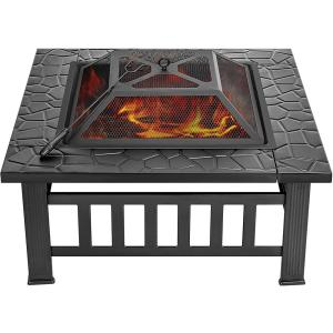 14.4 in. 3-in-1 Square Metal Patio Firepit Table with Screen Cover, Log Grate and Poker