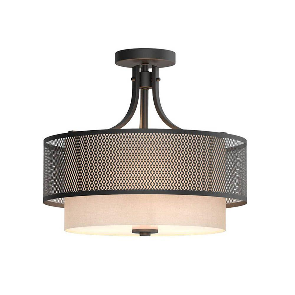 Home Decorators Collection Summit Collection 16 in. 3-Light Bronze Mesh Semi-Flush Mount with Inner Cream Fabric Shade