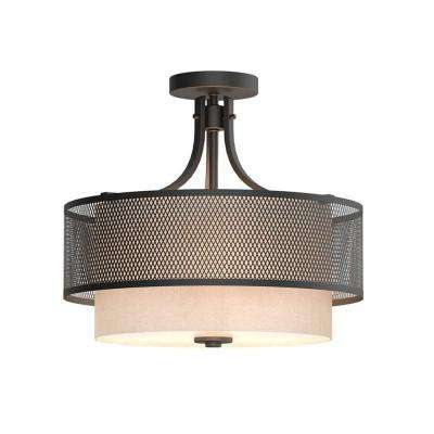 Summit Collection 16 in. 3-Light Bronze Mesh Semi-Flush Mount with Inner Cream Fabric Shade