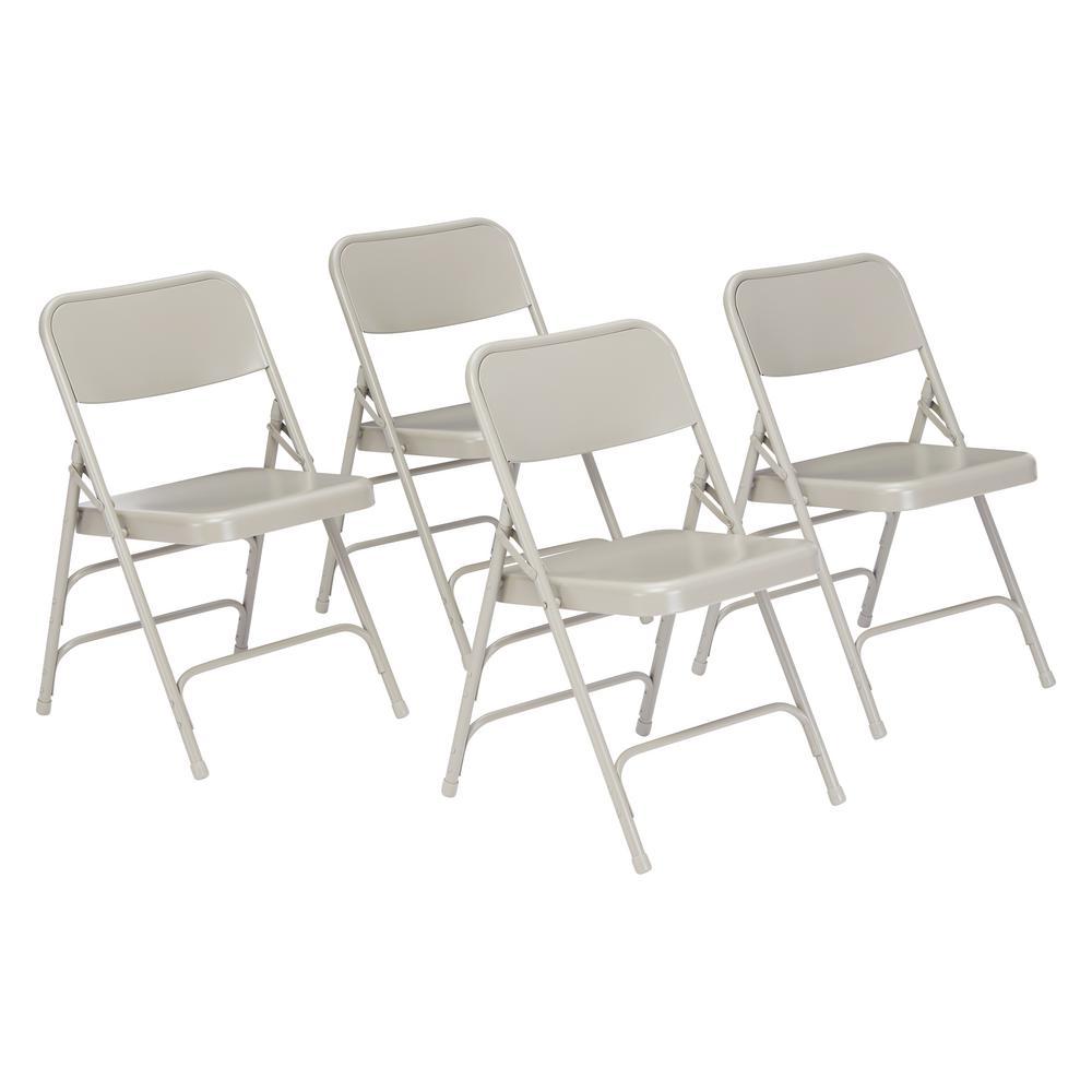 NPS 300 Series Premium Grey All-Steel Triple Brace Folding Chair (Pack of 4)