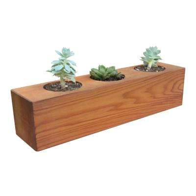 4 in. x 4 in. x 16 in. Succulent 3 Hole Wood Planter