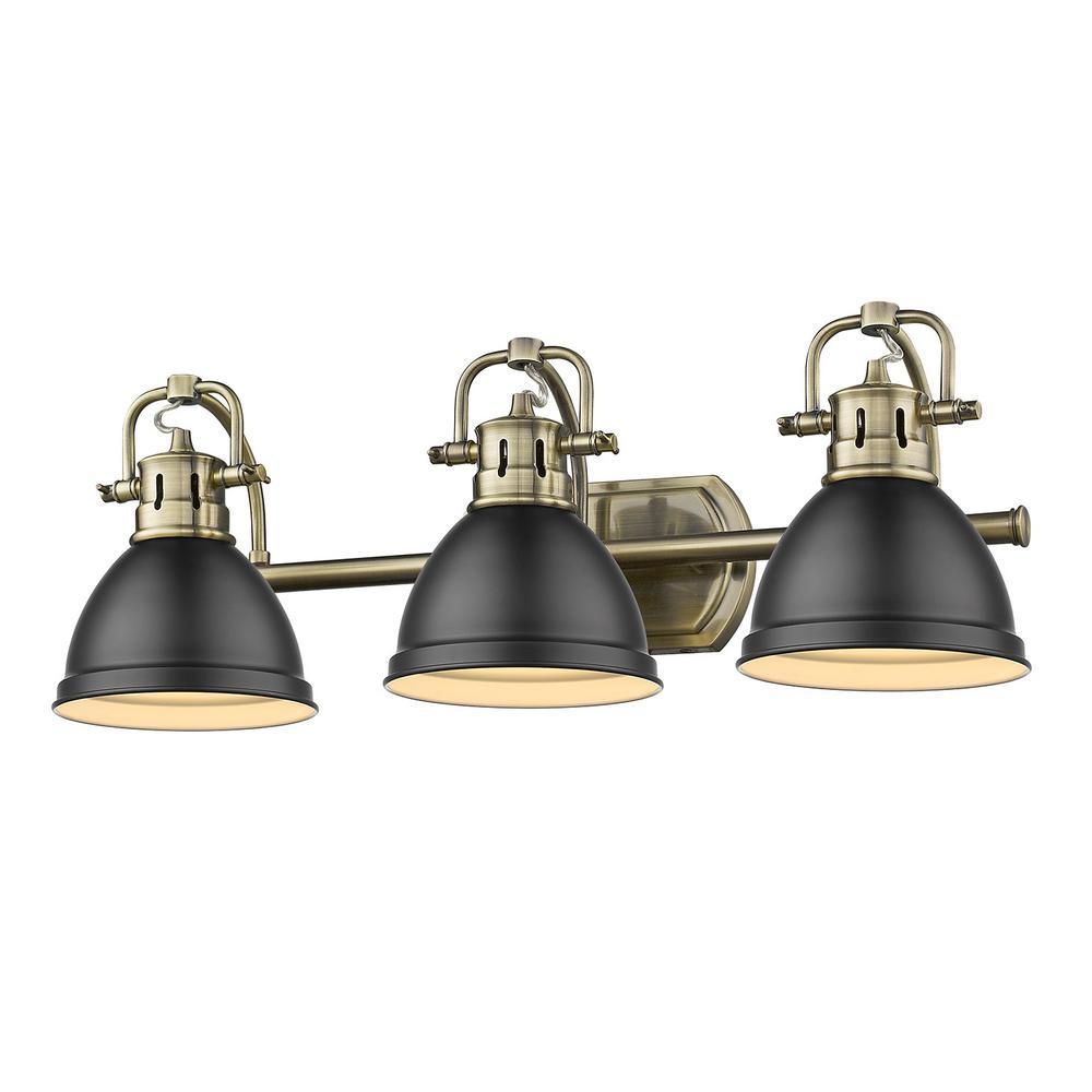 Duncan 3-Light Aged Brass Bath Light with Matte Black Shade
