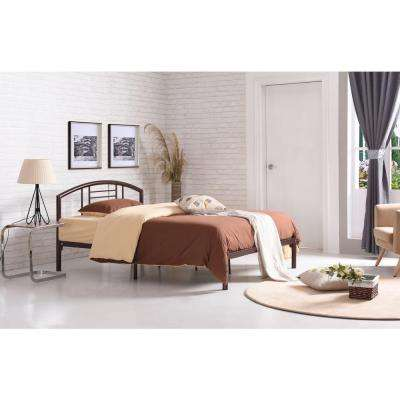 Low Line Queen-size Metal Bed with Headboard in Bronze