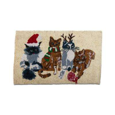Holiday Cats 18 in. x 30 in. Coir Mat