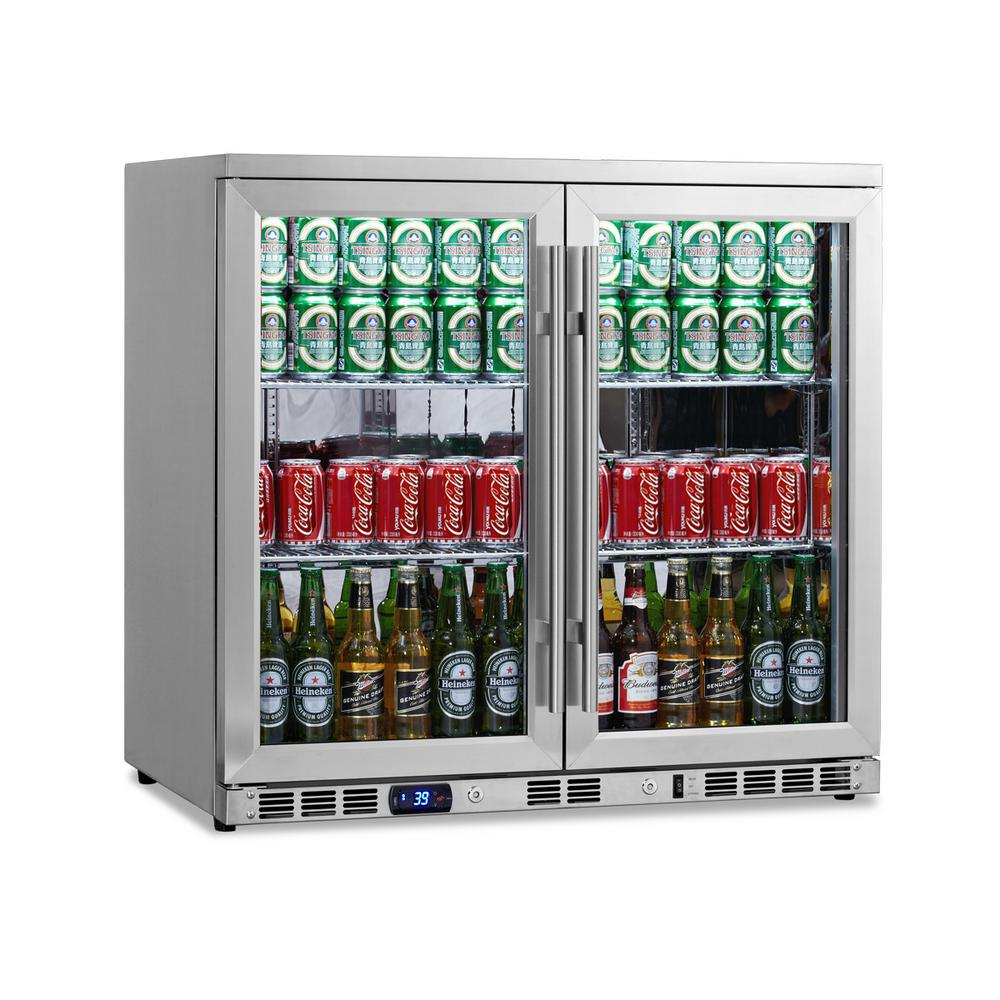 Single Zone 35.4 in. 169 (12 oz.) 2-Door Stainless Steel Beverage