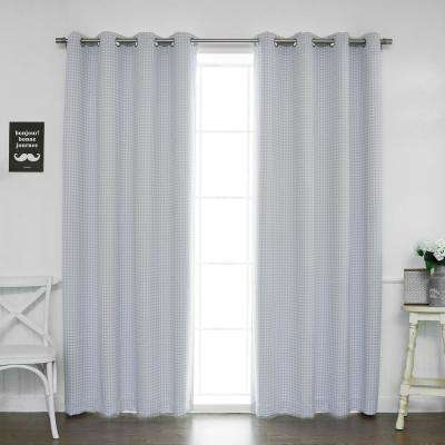 84 in. L Polyester Small Houndstooth Room Darkening Curtains in Lilac (2-Pack)