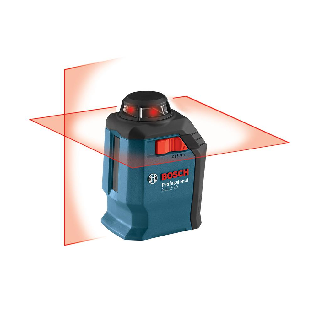 Bosch 65 Ft Self Leveling 360 Degree Horizontal Cross Line Laser Level With Mount And Carrying Pouch Gll 2 20 S The Home Depot