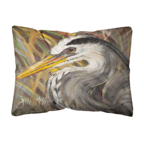 Caroline S Treasures 12 In X 16 In Multi Color Lumbar Outdoor Throw Pillow Blue Heron Jmk1012pw1216 The Home Depot