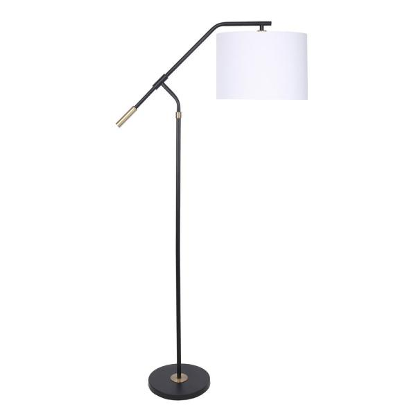 62.5 in. Matte Black Task Floor Lamp with Royal Gold Accents, Slim-Line Angular Design, and Linen Drum Shade
