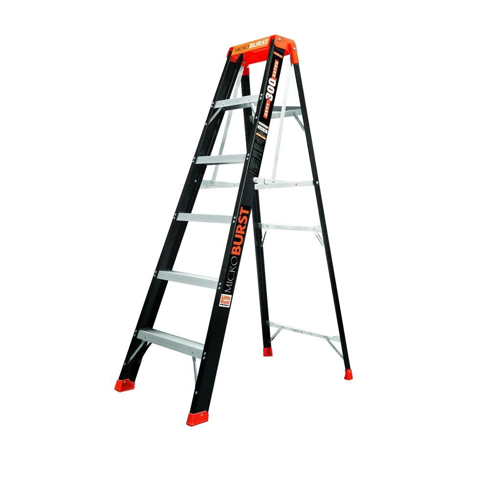 Little Giant Ladder Systems MicroBurst 6 ft. Fiberglass Step Ladder with 300 lb. Load Capacity Type IA Duty Rating
