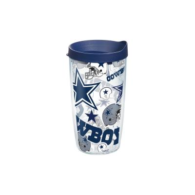 NFL Dallas Cowboys All Over 16 oz. Double Walled Insulated Tumbler with Travel Lid