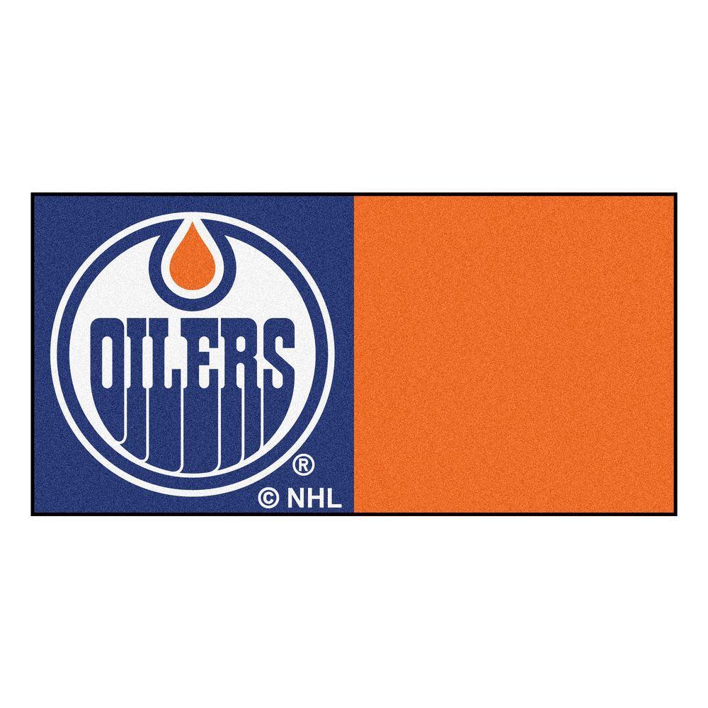 NHL - Edmonton Oilers Blue and Orange Pattern 18 in. x