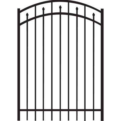 Brilliance Standard-Duty 4 ft. W x 5 ft. H Black Aluminum Arched Pre-Assembled Fence Gate