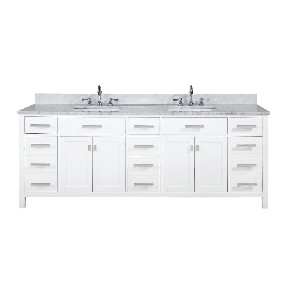 Design Element Valentino 84 in. W x 22 in. D Bath Vanity in White with Carrara Marble Vanity Top in White with White Basin