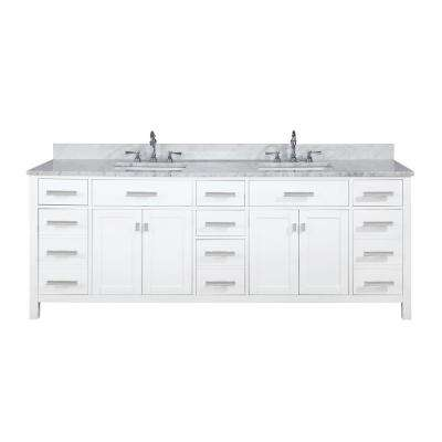 Valentino 84 in. W x 22 in. D Bath Vanity in White with Carrara Marble Vanity Top in White with White Basin