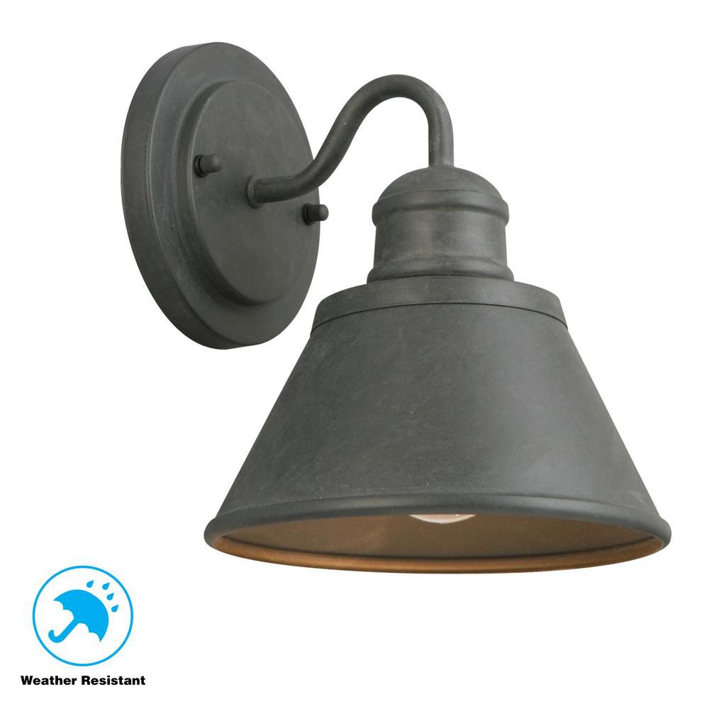 Hampton Bay 1 Light Zinc Outdoor Wall Barn Light Sconce Lantern Hsp1691a The Home Depot