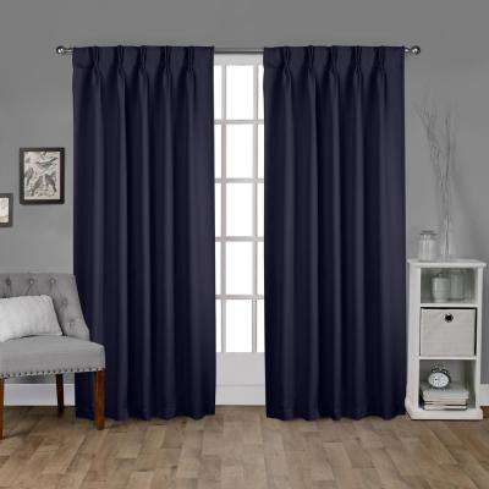 Sateen 30 in. W x 84 in. L Woven Blackout Pinch Pleat Top Curtain Panel in Peacoat Blue (2 Panels)