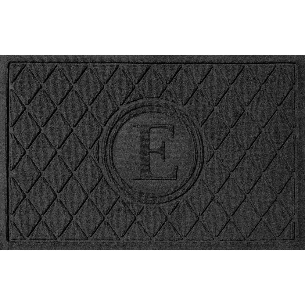 Argyle Charcoal 24 in. x 36 in. Monogram E Door Mat