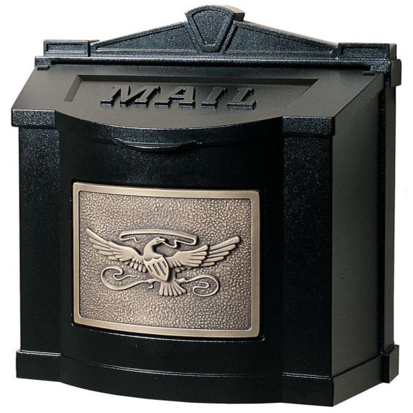 Eagle Accent Wall Mount Mailbox Black with Antique Bronze