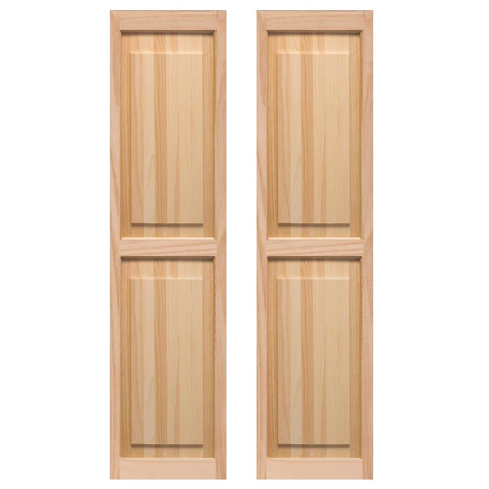 Pinecroft 15 in. x 59 in. Cedar Exterior Raised Panel Shutters Pair