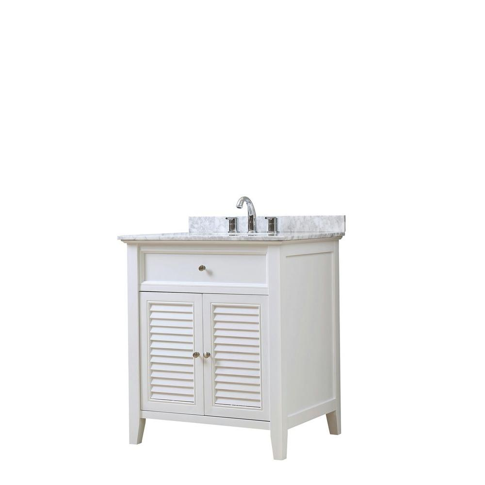 Direct vanity sink Shutter 32 in. Vanity in White with Marble Vanity Top in White Carrara with White Basin