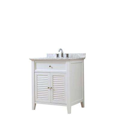 Shutter 32 in. Vanity in White with Marble Vanity Top in White Carrara with White Basin