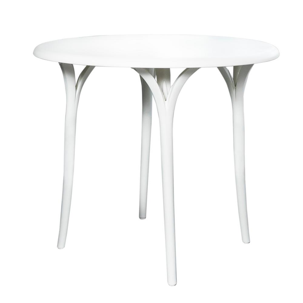 Lagoon Chloe White Round Plastic Outdoor Garden Table-8W8-SSLGA - The  Home Depot