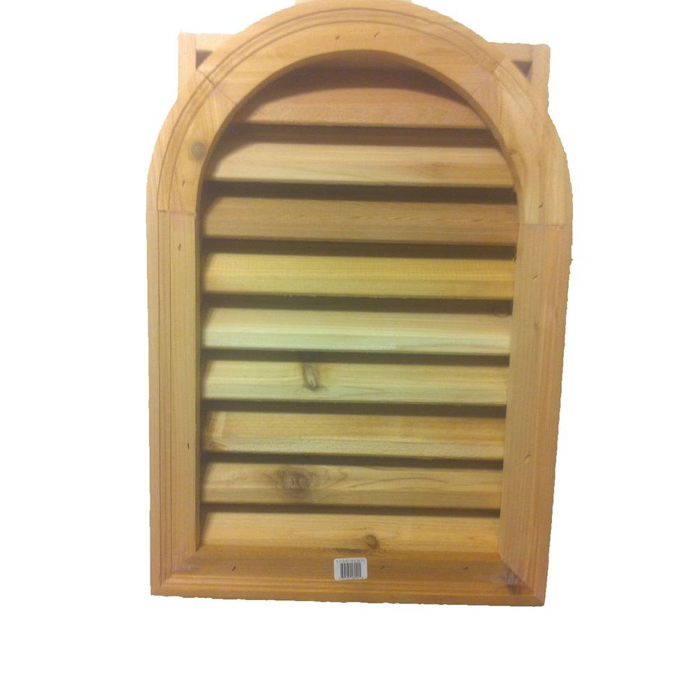16 X 24 In Cedar Wood Arch Top Gable Louver Air Vent Attic