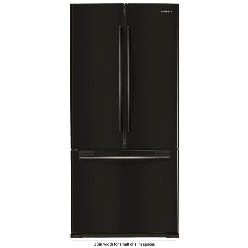 33 in. W 17.5 cu. ft. French Door Refrigerator in Black,