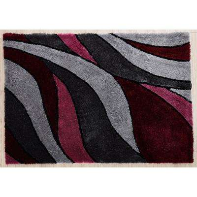 Aria 5 ft x 7 ft Soft Pile Modern Design Shaggy Area Rug. 100% Polyester.