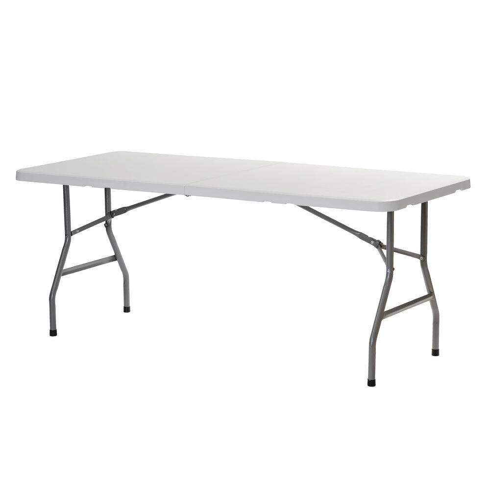 White Plastic Portable Fold In Half Folding Banquet Table