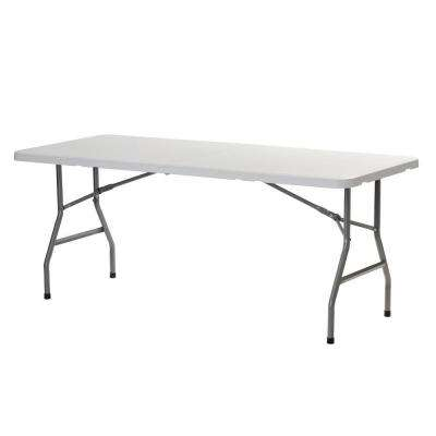 72 in. White Plastic Portable Fold-in-Half Folding Banquet Table